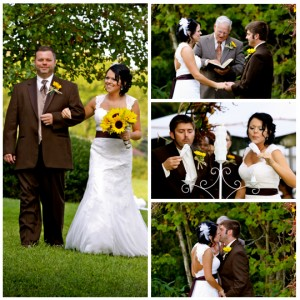 lake fall wedding photography of bride and groom