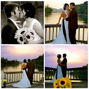 newlywed couple on wedding day on lake