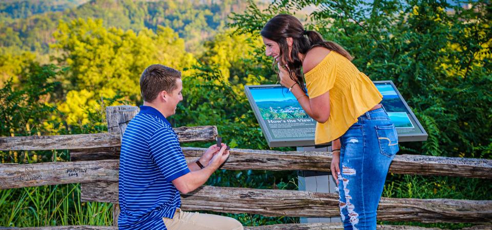 Caleb + Hayleigh | Gatlinburg Overlook Proposal | Surprise Engagement in the Smokies