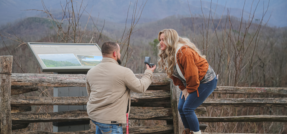 Cody + Sam | Gatlinburg Scenic Overlook | Surprise Proposal Photographer